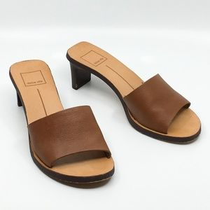 Dolce Vita Kylin Slides Brown Leather Slip Sandals